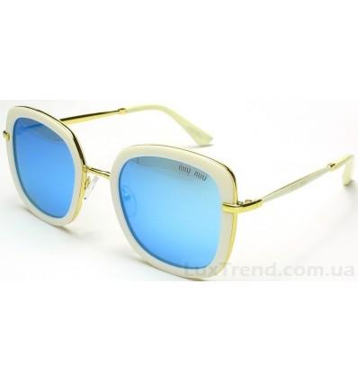 Солнцезащитные очки Miu Miu 15029 зеркальные голубые